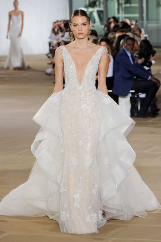 ines-di-santo-fall-2019-bridal-collection-wedding-dress-lysandra-v-neck-sheath-ruffle-train