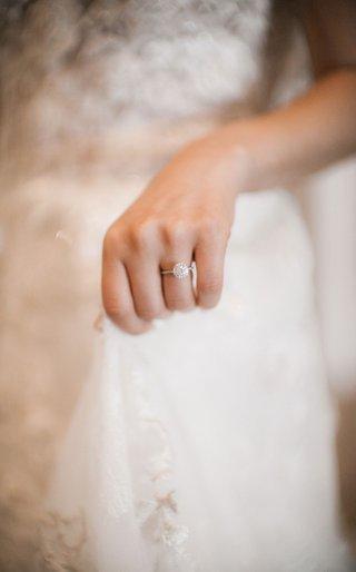 wedding-engagement-ring-thin-band-halo-setting-round-diamond-lace-wedding-dress