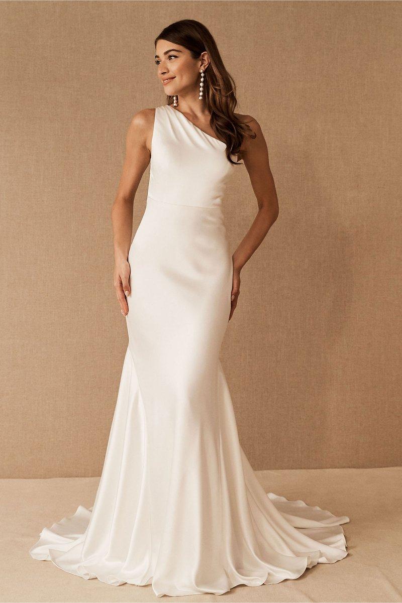 """Pearce"" Satin One-Shoulder Wedding Dress"