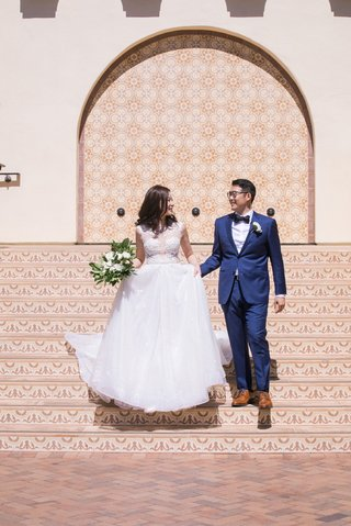 asian-bride-and-groom-wedding-inspiration-bride-in-berta-wedding-dress-groom-in-navy-suit