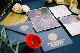 beauty-beast-movie-styled-wedding-shoot-vintage-inspired-navy-gold-invitations-fairy-tale-princess