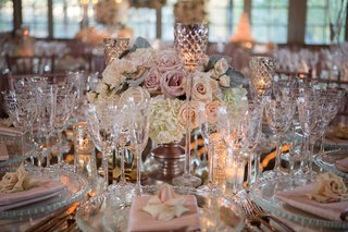 wedding-reception-low-centerpiece-white-hydrangea-pink-rose-mercury-glass-candleholder-mirror