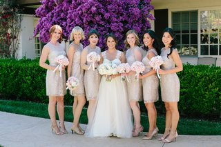 bridesmaids-in-shimmering-champagne-lace-bhldn-knee-length-dresses-bride-in-winnie-couture