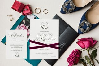 wedding invitation suite velvet ribbon turquoise blue teal black envelope design
