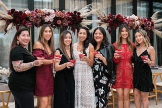 bride-and-bridesmaids-with-cocktails-at-bridal-shower