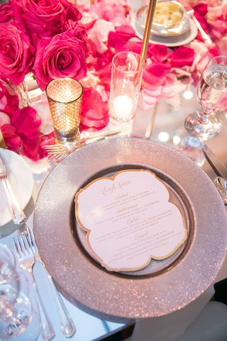 wedding-reception-place-setting-mirror-table-silver-charger-gold-menu-candle-votive-pink-flower-rose