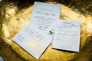 white-and-gold-foil-wedding-invitation-rehearsal-dinner-invite-and-save-the-date-calligraphy