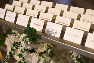 black-tie-wedding-simple-sophisticated-escort-cards-calligraphy-script-tables-spelled-out