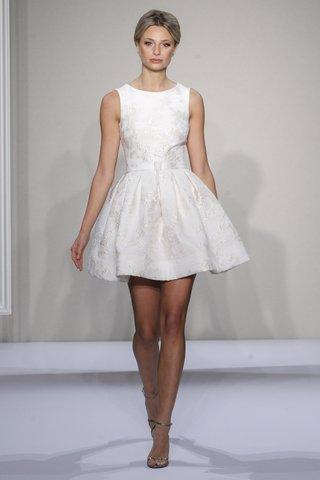 textured-a-line-short-wedding-dress-by-dennis-basso