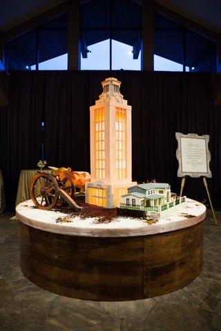 elaborate-grooms-cake-replica-of-university-of-texas