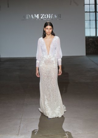 ella-by-adam-zohar-spring-2019-sheer-white-top-plunging-neckline-blouson-sleeves-sheer-ivory-skirt