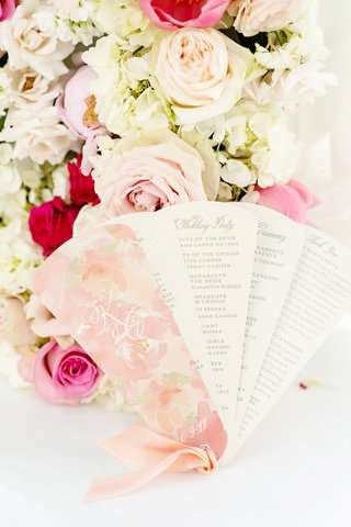 wedding-ceremony-program-fan-design-pink-flower-print-ribbon-wedding-party-details