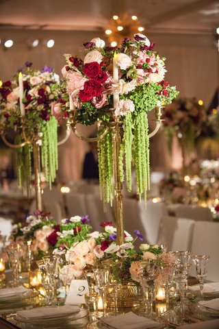 wedding-reception-tall-centerpiece-with-candelabra-amaranthus-red-flowers-rose-tulip-peony-anemone
