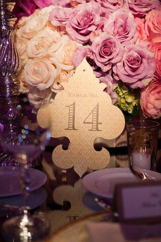gold-reception-table-number-on-fleur-de-lys-cut-out