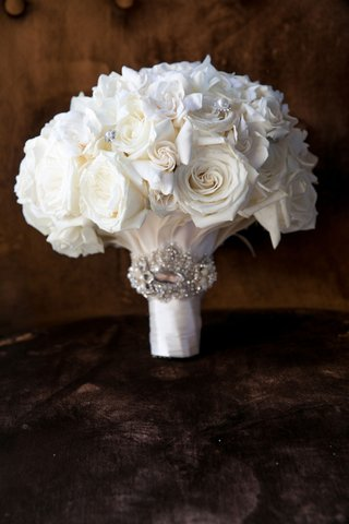 wedding bouquet white rose flowers crystal wrap with crystal details on flowers