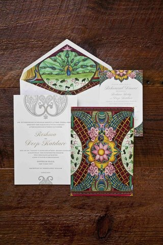 wedding-invitation-suite-with-peacock-and-cherry-blossom-theme-by-ceci-new-york