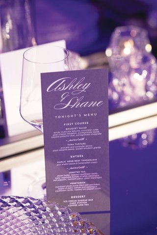 wedding reception menu purple stationery with white script tonight's menu modern look