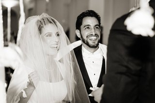 black-and-white-photo-of-bride-and-groom-at-jewish-wedding