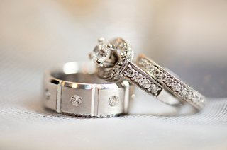 vintage-inspired-engagement-ring-and-diamond-eternity-band