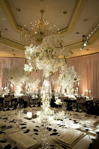 black-and-white-reception-tablecloth-with-white-flower-centerpiece