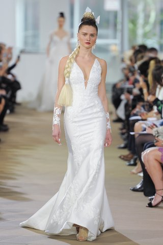 ines-di-santo-spring-2018-embroidered-lace-halter-plunging-v-neck-modified-trumpet-illusion-back