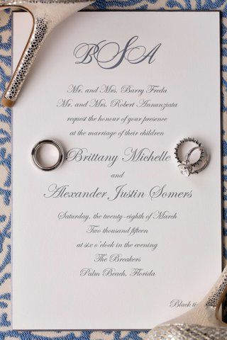 white-black-tie-wedding-invitation-with-grey-calligraphy-and-monogram-at-top-wedding-rings-resting