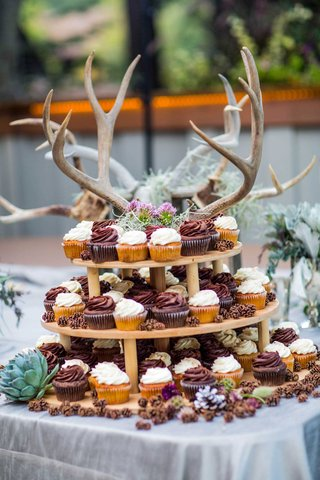 wedding-cupcake-table-with-antlers-as-decor
