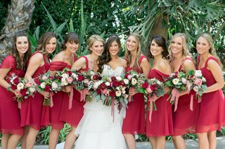 bridesmaids-in-ruby-alfred-angelo-made-to-love-bridesmaid-dresses-bride-in-alfred-angelo-gown