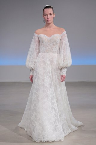 isabelle-armstrong-caroline-fall-2017-lace-a-line-off-the-shoulder-sweetheart-blouson-sleeves-beaded