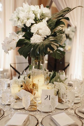 white-orchid-rose-hydrangea-lily-hibiscus-flowers-green-banana-leaf-palm-tropical-jungle-leaves
