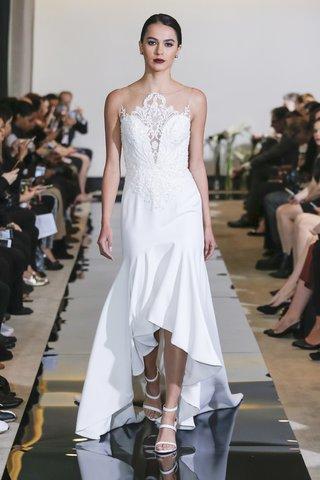 justin-alexander-spring-2018-crepe-high-low-gown-tonal-beading-bridal-dress-designer