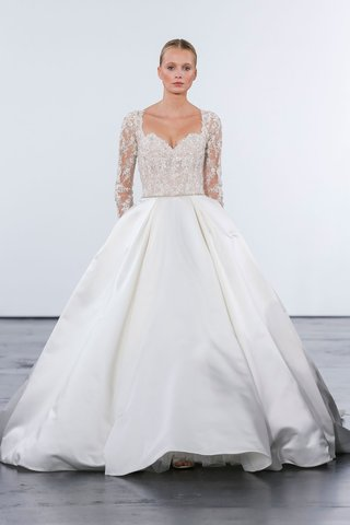 dennis-basso-for-kleinfeld-2018-collection-wedding-dress-long-illusion-sleeve-satin-silk-ball-gown