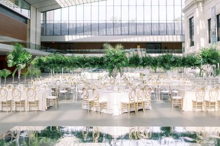 A Charming Fete Tropical Reception gold white and greenery