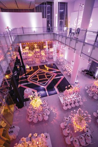 wedding reception white silver centerpiece designs black gold silver dance floor art deco style