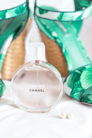 chance-by-chanel-perfume-with-wedding-shoes-palm-tree-print-and-pearl-earrings-studs
