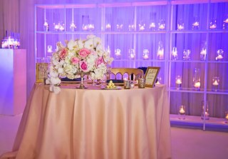sweetheart-table-with-centerpiece-white-orchid-ivory-hydrangea-pink-rose-and-gold-chairs-purple