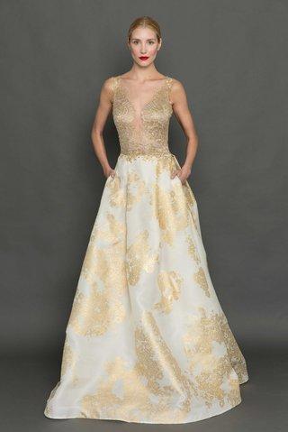 francesca-miranda-fall-2017-ariel-gold-print-organza-ball-gown-gold-lace-bodice