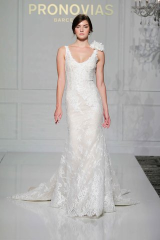 pronovias-2016-sleeveless-lace-wedding-dress-with-lace-flower-on-shoulder