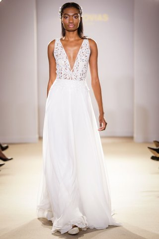 atelier-pronovias-2019-bridal-collection-wedding-dresses-v-neck-gown-chiffon-illusion-bodice