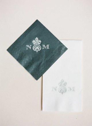 wedding-monogram-printed-on-grey-cocktail-napkin-and-white-dinner-napkin