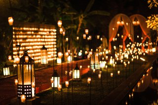 pathway-lit-lanterns-lights-nighttime-wedding-ceremony-destination-marrakech-morocco-outdoor-candles