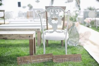 white-antique-ceremony-chair-with-cute-wedding-signs