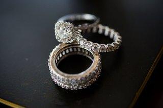 halo-engagement-ring-round-diamond-eternity-band-diamond-wedding-ring-stacked-bands