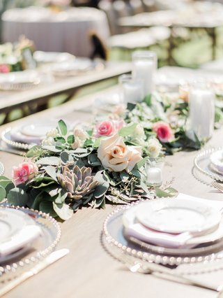 wedding-reception-succulent-greenery-candle-votive-blush-pink-rose-flowers-megan-nicole-youtube