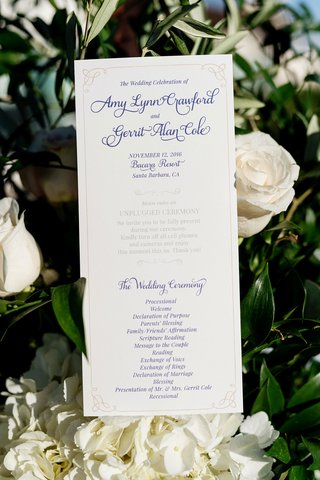wedding-ceremony-program-card-for-amy-crawford-and-houston-astros-pitcher-gerrit-cole-wedding