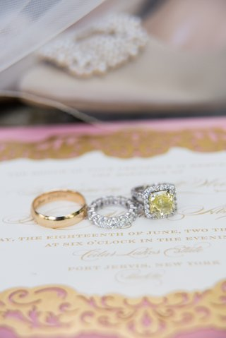 yellow-diamond-halo-engagement-ring-eternity-band-yellow-gold-mens-wedding-band