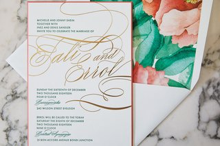 wedding invitation suite by ceci new york tropical watercolor flower print coral and kelly green gold foil