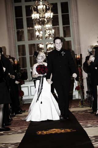 brandon-saller-drummer-of-atreyu-with-bride-in-a-stapless-alvina-valenta-dress-with-a-black-sash
