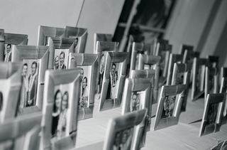 black-and-white-photo-of-bamboo-frame-party-favors