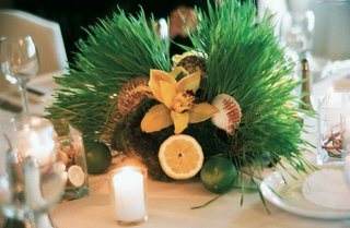 small-centerpiece-with-grass-lemon-lime-orchid-and-sea-shell-decorations